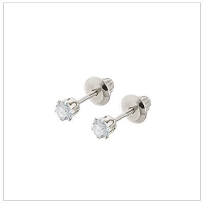 14kt white gold April birthstone earrings for babies and children. These are screw back earrings for children.