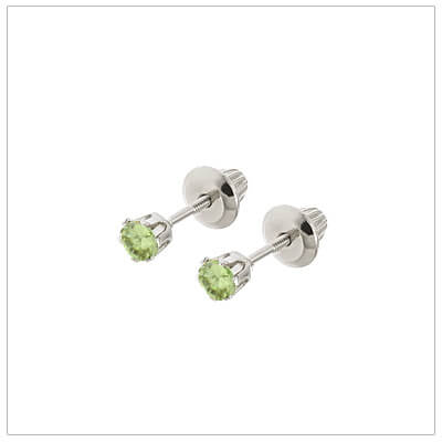 14kt white gold August birthstone earrings for babies and children. These are screw back earrings for children.