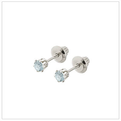 14kt white gold December birthstone earrings for babies and children. These are screw back earrings for children.