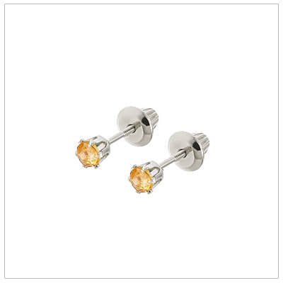 14kt white gold November birthstone earrings for babies and children. These are screw back earrings for children.