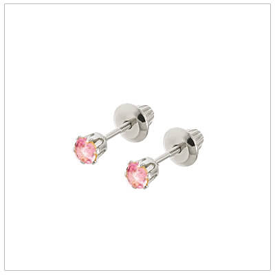 14kt white gold October birthstone earrings for babies and children. These are screw back earrings for children.