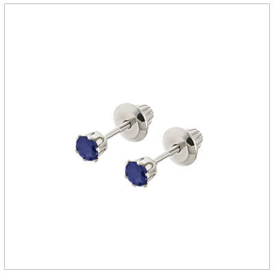 14kt white gold September birthstone earrings for babies and children. These are screw back earrings for children.