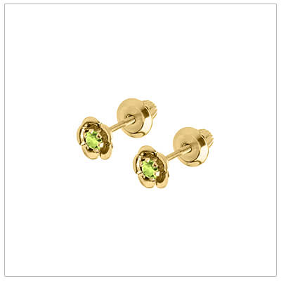 August birthstone earrings for children in 14kt yellow gold. Baby and childrens birthstone earrings in a flower shape.