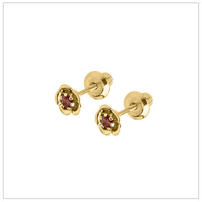 January birthstone earrings for children in 14kt yellow gold. Baby and childrens birthstone earrings in a flower shape.