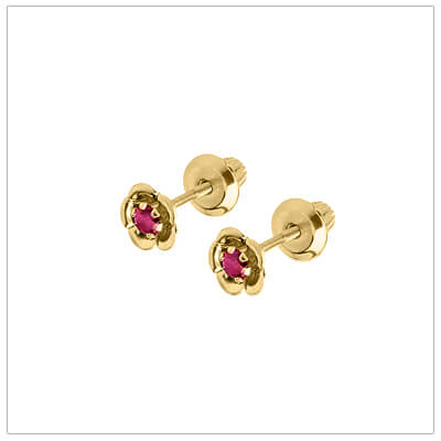 June birthstone earrings for children in 14kt yellow gold. Baby and childrens birthstone earrings in a flower shape.