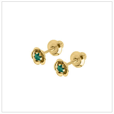 May birthstone earrings for children in 14kt yellow gold. Baby and childrens birthstone earrings in a flower shape.