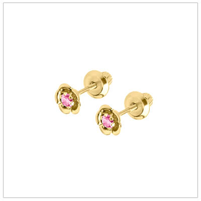 October birthstone earrings for children in 14kt yellow gold. Baby and childrens birthstone earrings in a flower shape.
