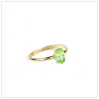 10kt gold birthstone ring for girls with an oval birthstone, August birthstone ring.