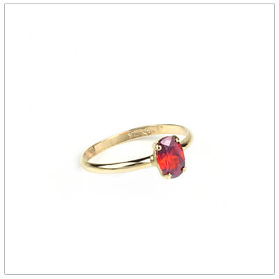 10kt gold birthstone ring for girls with an oval birthstone, July birthstone ring.