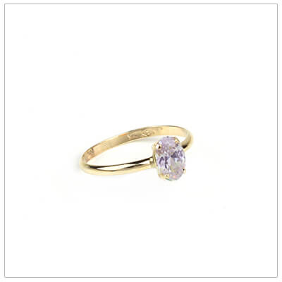 10kt gold birthstone ring for girls with an oval birthstone, June birthstone ring.