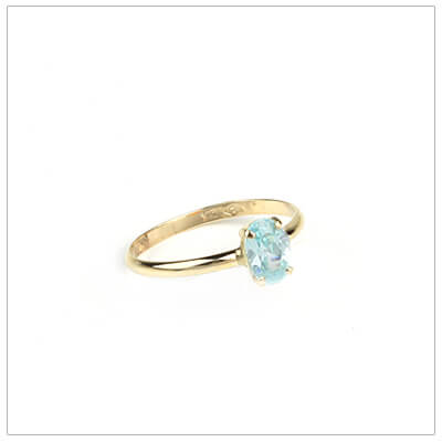 10kt gold birthstone ring for girls with an oval birthstone, March birthstone ring.