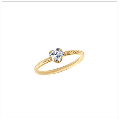 10kt gold heart-shaped birthstone ring with a patterned band, April birthstone ring for children.
