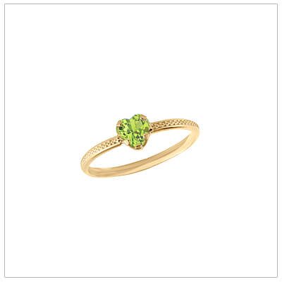 10kt gold heart-shaped birthstone ring with a patterned band, August birthstone ring for children.