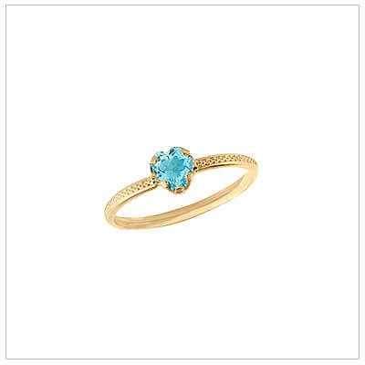 10kt gold heart-shaped birthstone ring with a patterned band, December birthstone ring for children.
