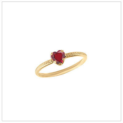 10kt gold heart-shaped birthstone ring with a patterned band, July birthstone ring for children.