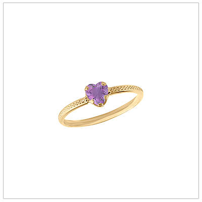 10kt gold heart-shaped birthstone ring with a patterned band, June birthstone ring for children.