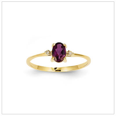 14kt gold diamond and birthstone ring for June with genuine rhodolite garnet; 4 sizes available.
