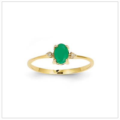 14kt gold diamond and birthstone ring for May with genuine emerald; 4 sizes available.