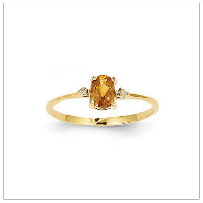 14kt gold diamond and birthstone ring for November with genuine citrine; 4 sizes available.