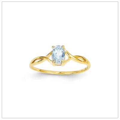 14kt gold birthstone ring for March with a genuine faceted oval aquamarine.