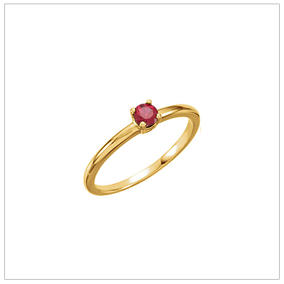 14kt gold July birthstone ring for children with created ruby.