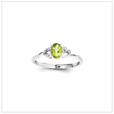 May birthstone ring for girls with genuine birthstone and two side hearts. The birthstone ring is sterling silver, available in 3 sizes.