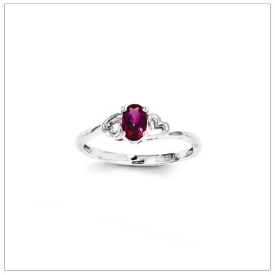 July birthstone ring for girls with created ruby birthstone and two side hearts. The birthstone ring is sterling silver, available in 3 sizes.