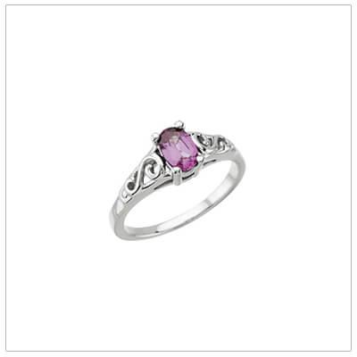 Sterling Swirl Birthstone Ring June Teen Birthstone Ring