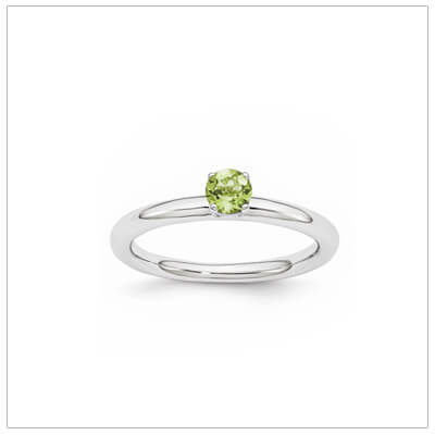 Classic styled solitaire birthstone ring for August in sterling silver. Sizes available for children, teens, and adults.