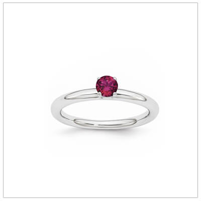 Classic styled solitaire birthstone ring for July in sterling silver. Sizes available for children, teens, and adults.