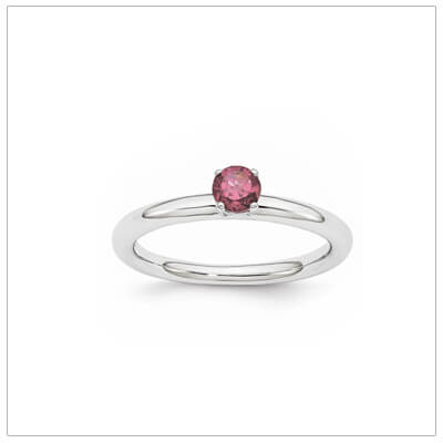 Classic styled solitaire birthstone ring for June in sterling silver. Sizes available for children, teens, and adults.