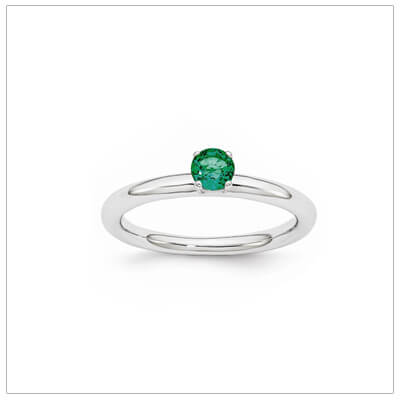 Classic styled solitaire birthstone ring for May in sterling silver. Sizes available for children, teens, and adults.