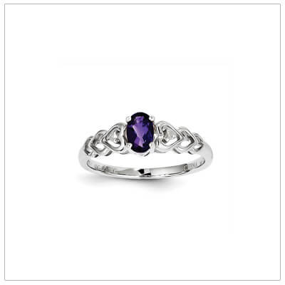 February birthstone and diamond ring for preteens and teens in sterling silver. The ring has a triple heart band set with genuine diamonds.