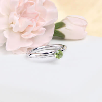Sterling silver August birthstone ring for girls with a solitaire birthstone.