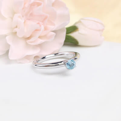 Sterling silver December birthstone ring for girls with a solitaire birthstone.