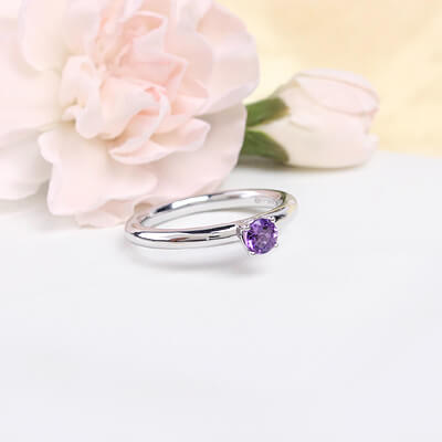 Sterling silver February birthstone ring for girls with a solitaire birthstone.