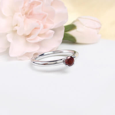 Sterling silver January birthstone ring for girls with a solitaire birthstone.