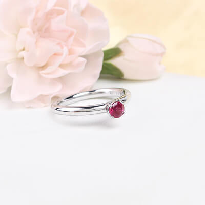 Sterling silver July birthstone ring for girls with a solitaire birthstone.