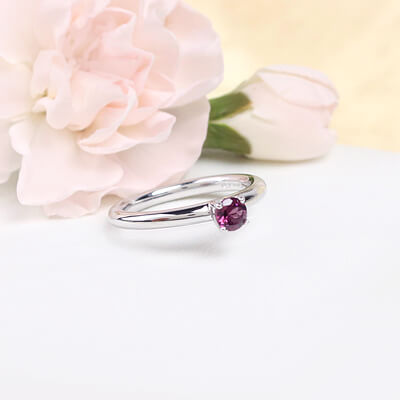 Sterling silver June birthstone ring for girls with a solitaire birthstone.