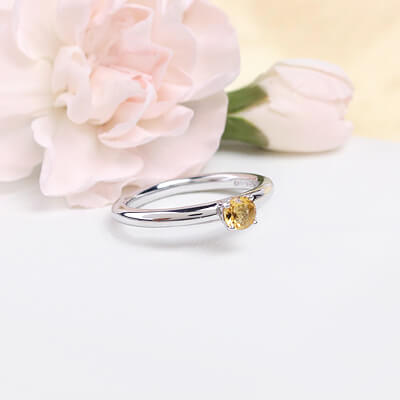 Sterling silver November birthstone ring for girls with a solitaire birthstone.