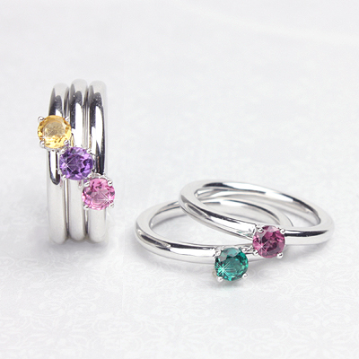 Sterling silver birthstone rings for children, tweens, and teens with a solitaire birthstone. These birthstone rings are stackable for a variety of looks.
