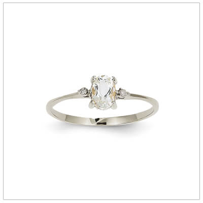 14kt white gold diamond and birthstone ring for April with genuine white topaz; 4 sizes available.