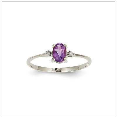 14kt white gold diamond and birthstone ring for February with genuine amethyst; 4 sizes available.