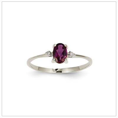 14kt white gold diamond and birthstone ring for June with genuine rhodolite garnet; 4 sizes available.