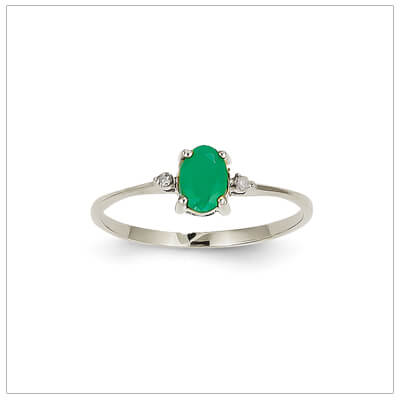 14kt white gold diamond and birthstone ring for May with genuine emerald; 4 sizes available.
