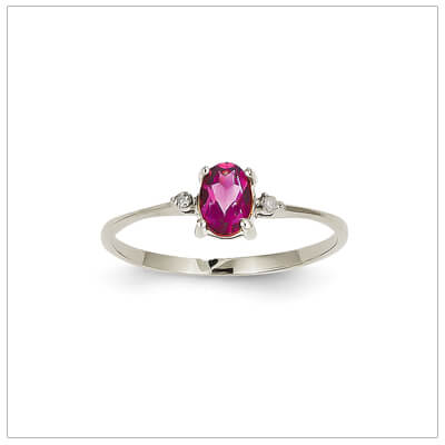 14kt white gold diamond and birthstone ring for October with genuine pink tourmaline; 4 sizes available.