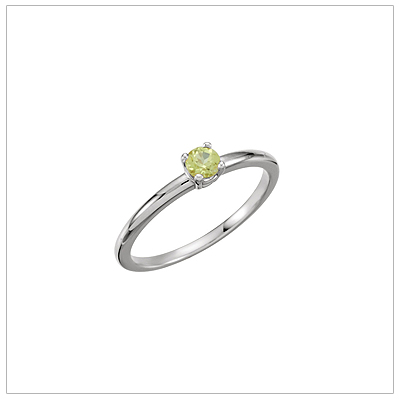 14kt white gold solitaire-style birthstone ring for August.