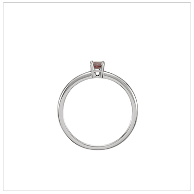White gold June birthstone ring side view.