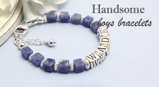Boys bracelet in blue sodalite cube gemstones personalized with name; all sterling silver.