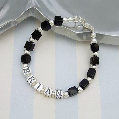 Classic looking boys name bracelets with cube cut polished black onyx gemstones.